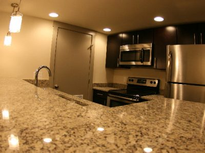 The Auction House Lofts sink in kitchen